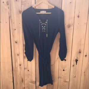 Michael Kors Navy Dress with Gold Chain